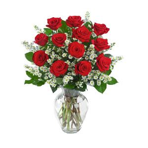 3a558a5a377a4 Foto de Florero 12 rosas rojas importadas